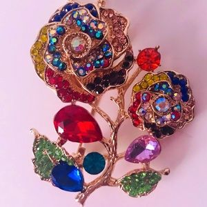 NEW! COLORFUL CRYSTAL FLORAL SWEATER NECKLACE GOLD